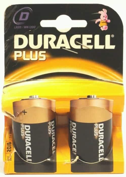 2 Pack D Duracell Batteries