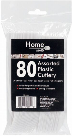 Home Maid 80 Pieces of Assorted Plastic Cutlery