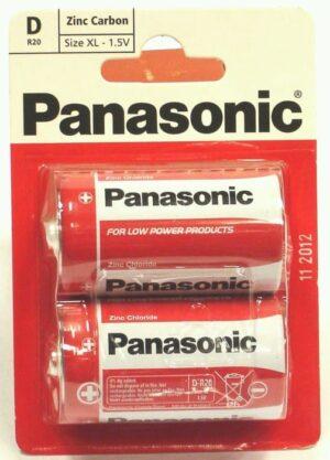 2 Pack D Panasonic Batteries