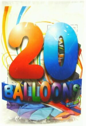20pk Assorted Coloured Balloons
