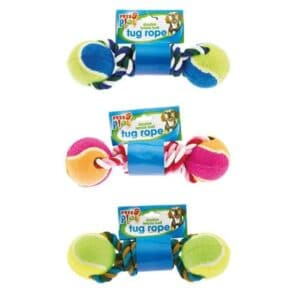 Pets At Play Double Tennis Ball Tug Rope