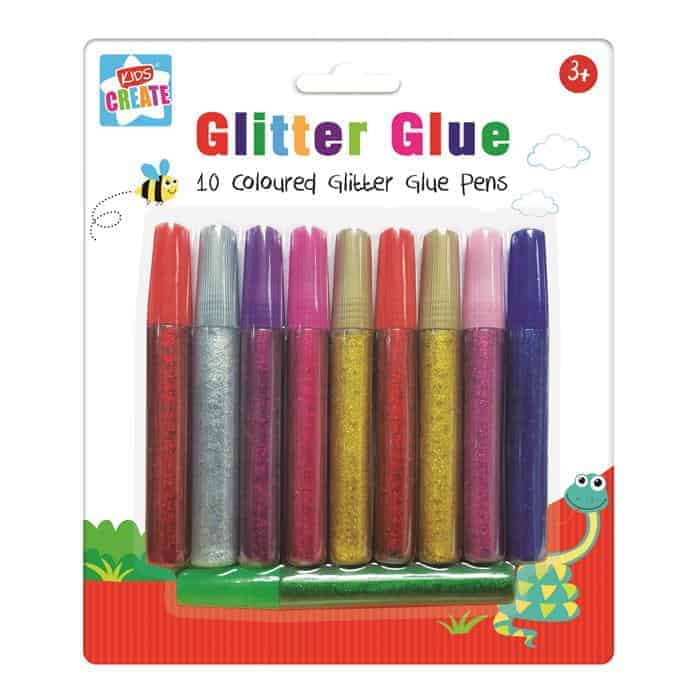 10 Coloured Glitter Glue Pens