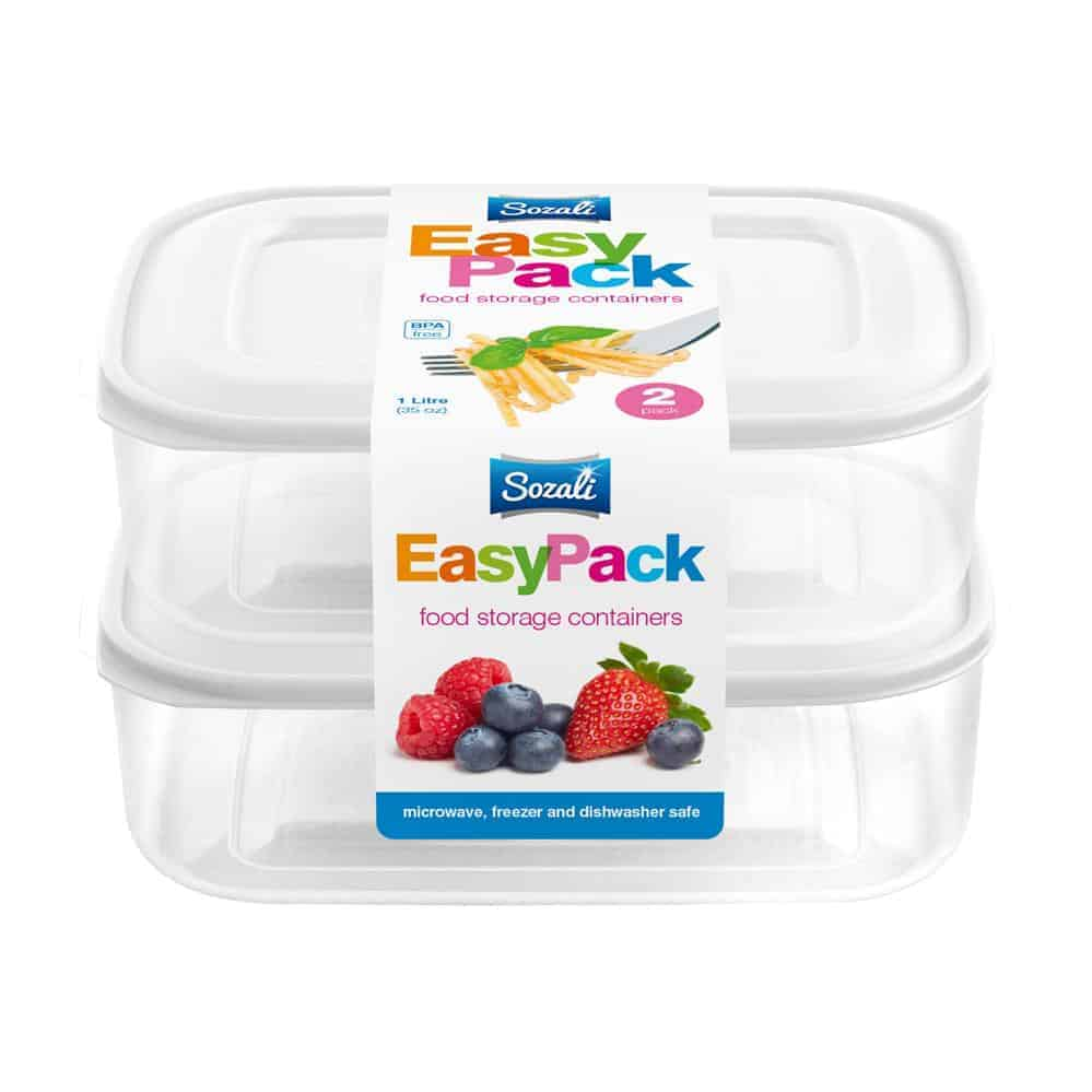 2Pk 1L Easypack Containers+Lid