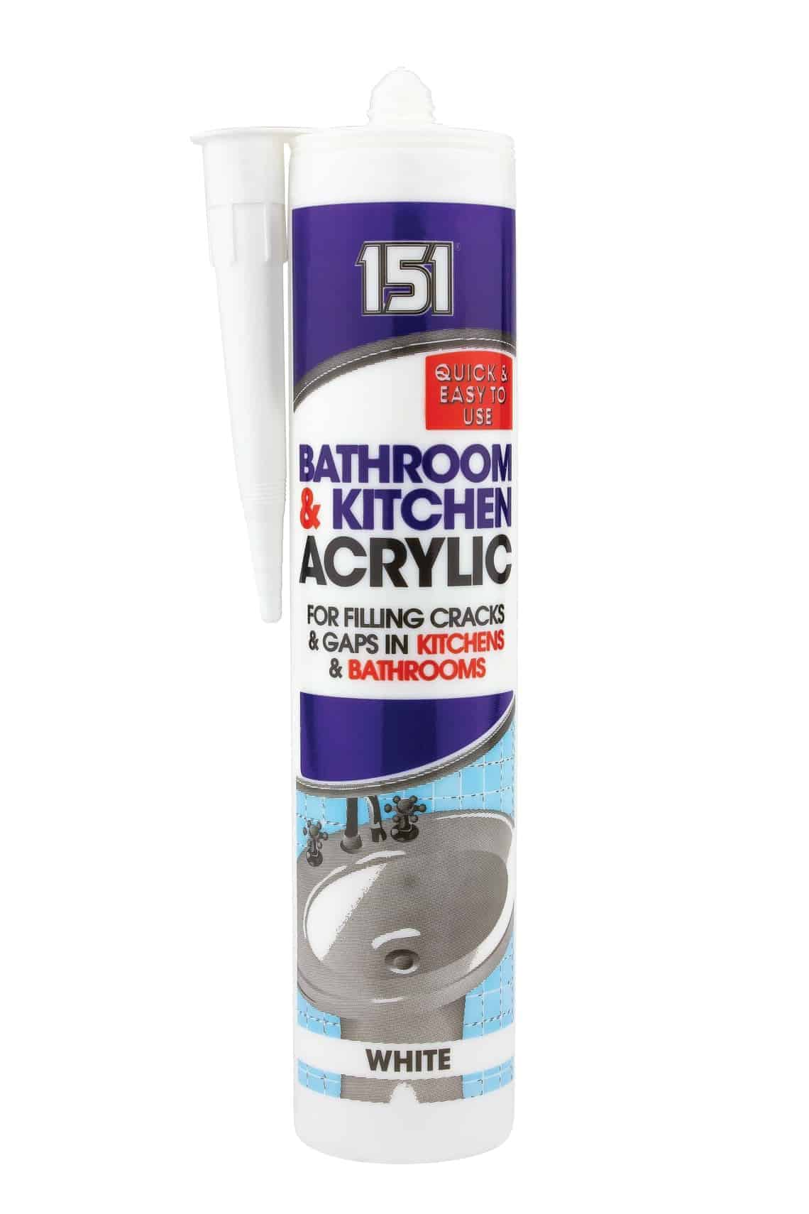 151 Bathroom & Kitchen Acrylic WHITE for Filling Cracks and Gaps in Kitchens and Bathrooms