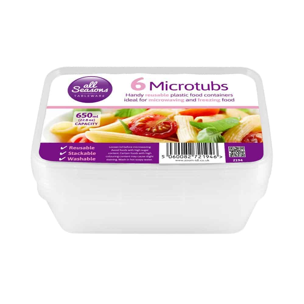 6Pk Rectangular M/Wave Containers-650 Ml