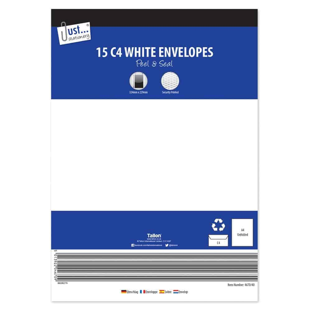 15Pk C4 Peel+Seal White Envelopes(2X20 Case)