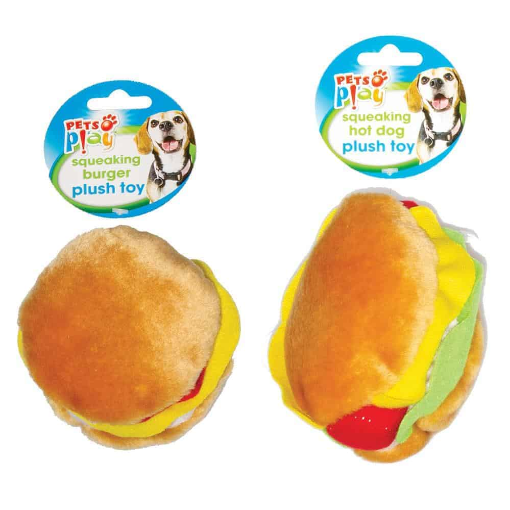 Plush Burger & Hotdog 4 Assorted