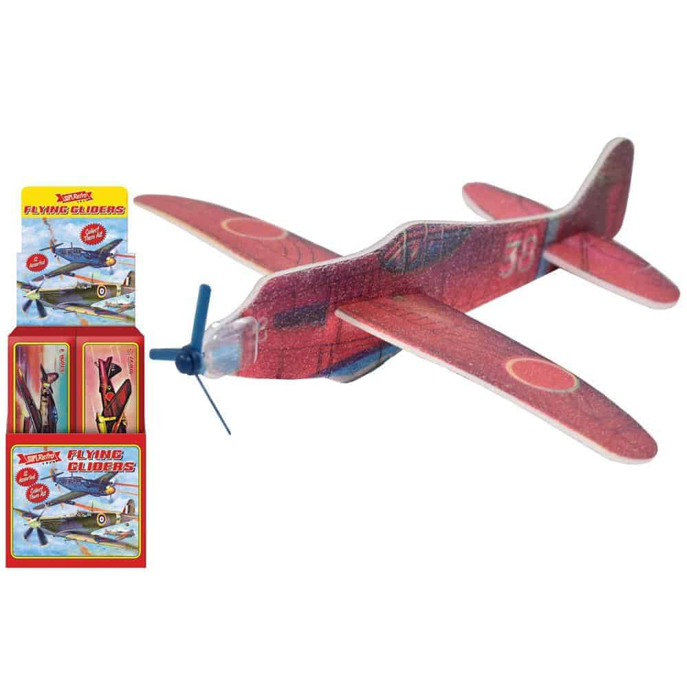 """6"""" Flying Gliders - 12 Assorted In Display Box """"Retro"""""""