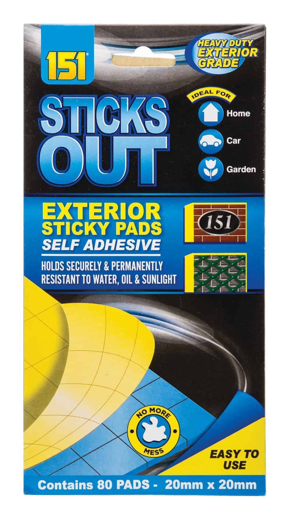 80Pk Blue Exterior (Sticks Out) Sticky Pads