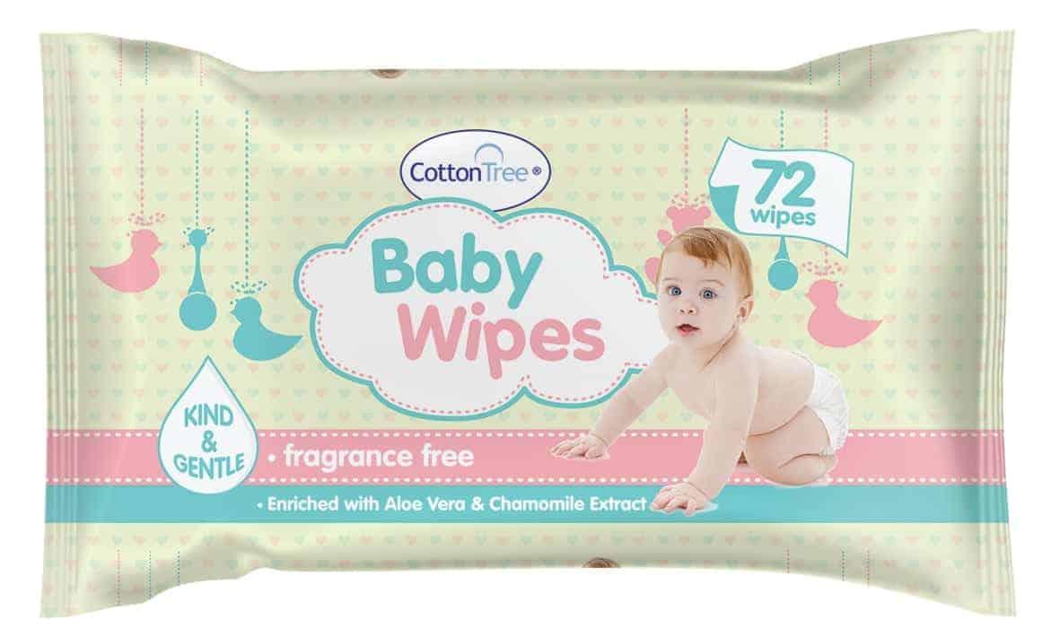 Cotton Tree Baby Wipes -72Pk