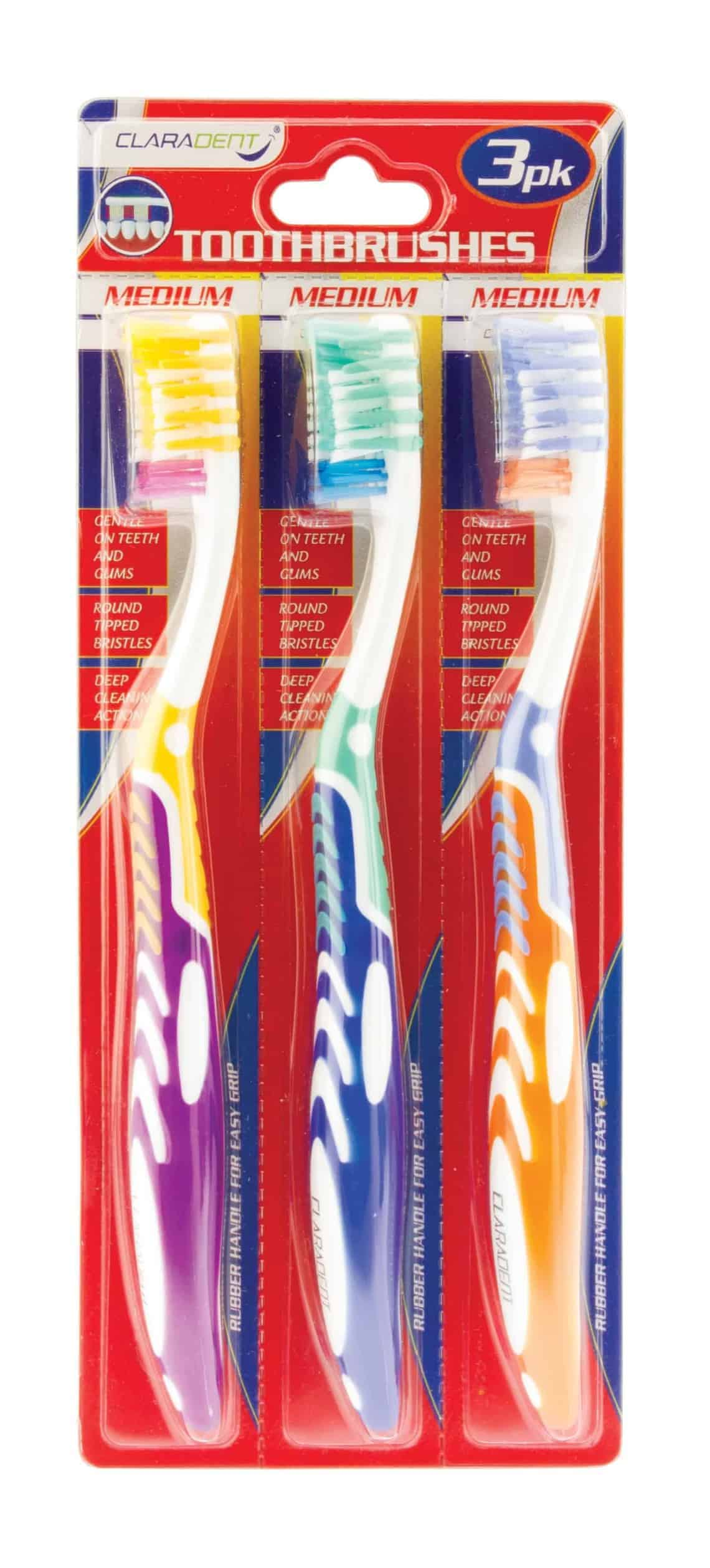 Claradent Adult Toothbrushes-3Pk