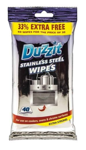 Duzzit 40pk Stainless Steel Wipes