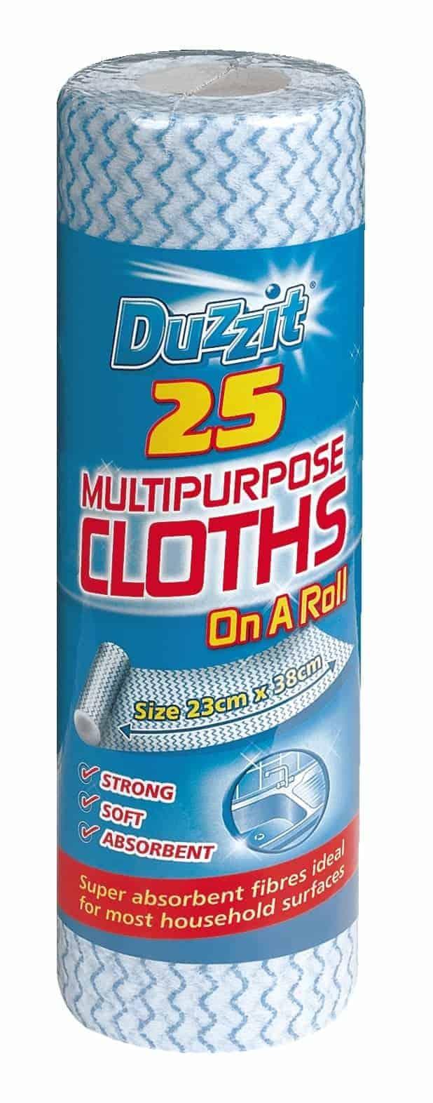 Duzzit 25pk Multi-Purpose Cloths On Roll