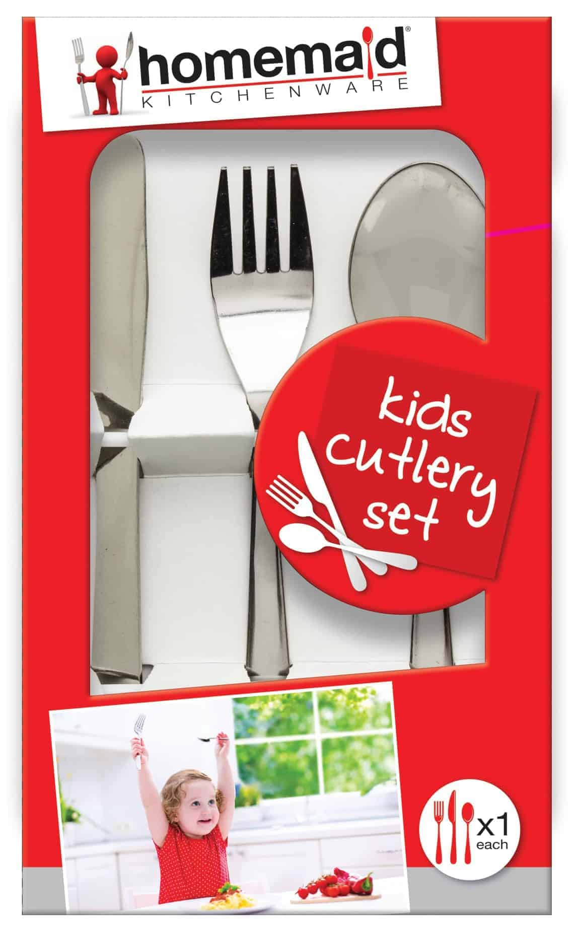 Home Maid 3pc Kids Cutlery Set