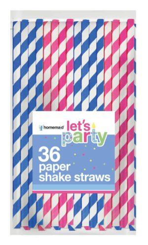 36Pk Striped Paper Straws
