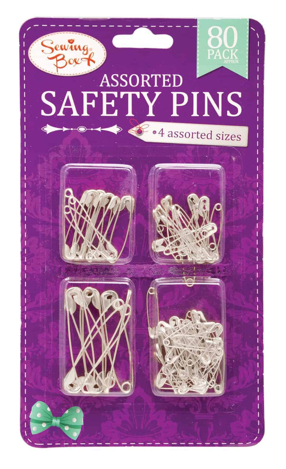 Sewing Box Silver Safety Pins