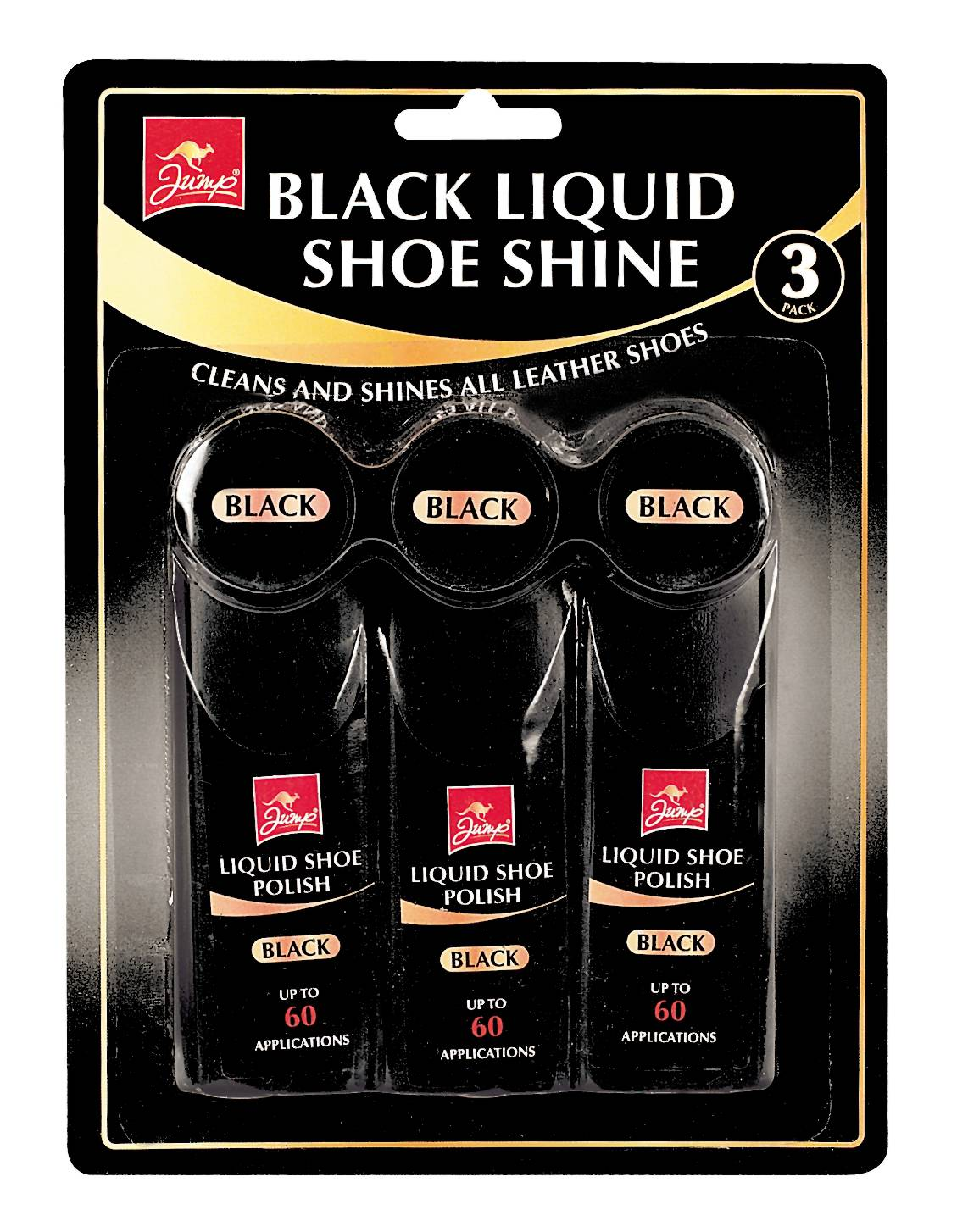 Jump 3 Pack Black Liquid Shoe Polish