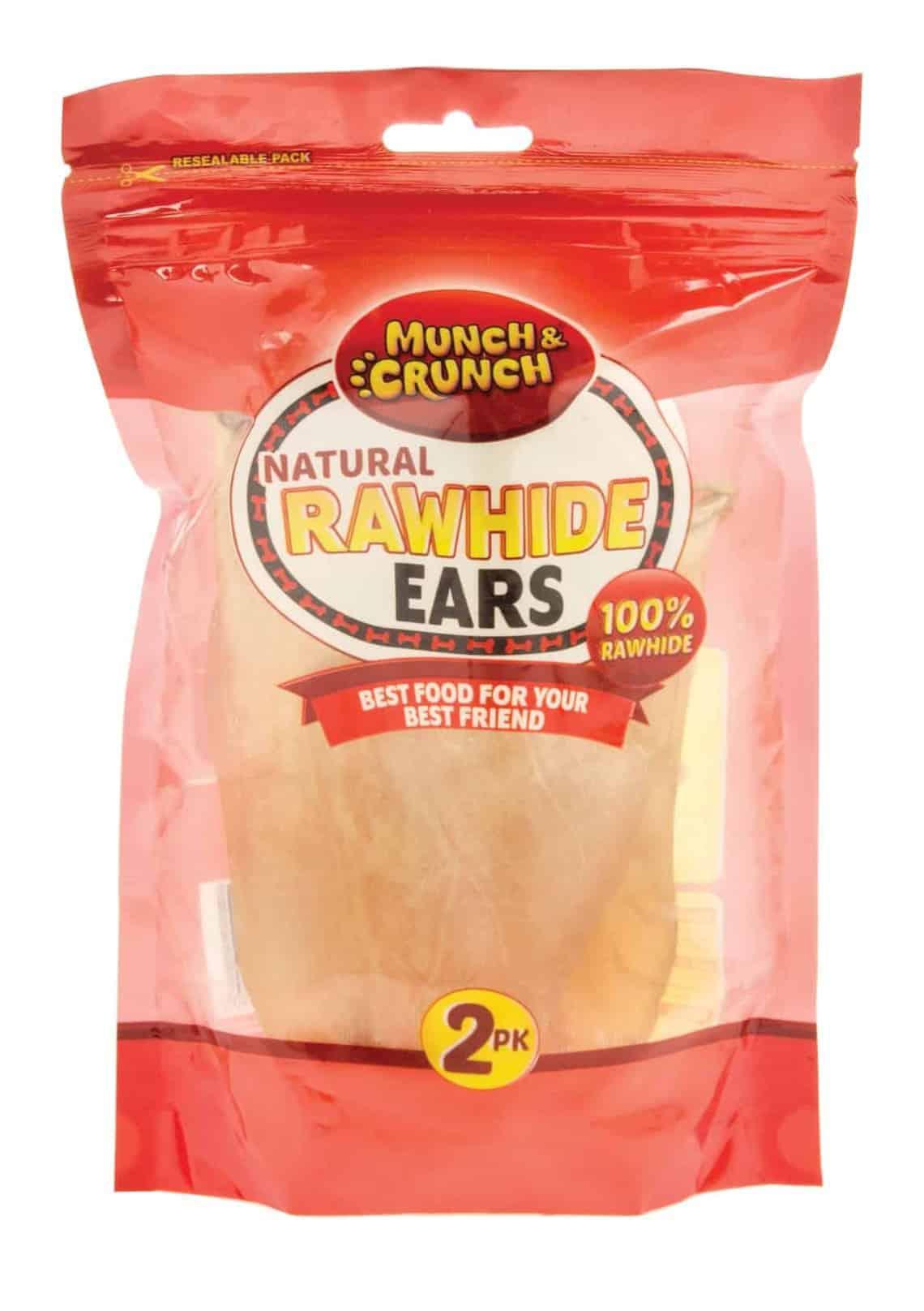 Munch Crunch Rawhide Ears - 2Pk Natural