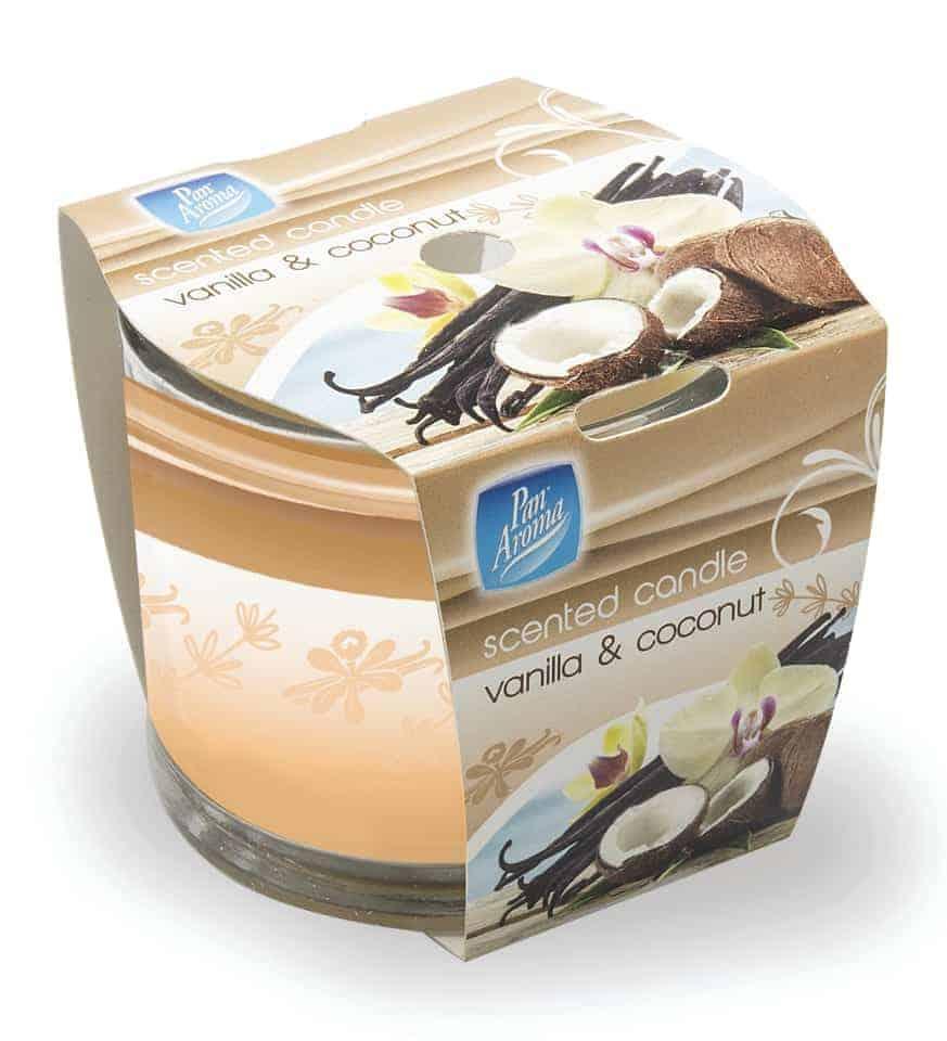 Pan Aroma Straight Edge Sleeve Wrp Cndle - Vanilla & Coconut