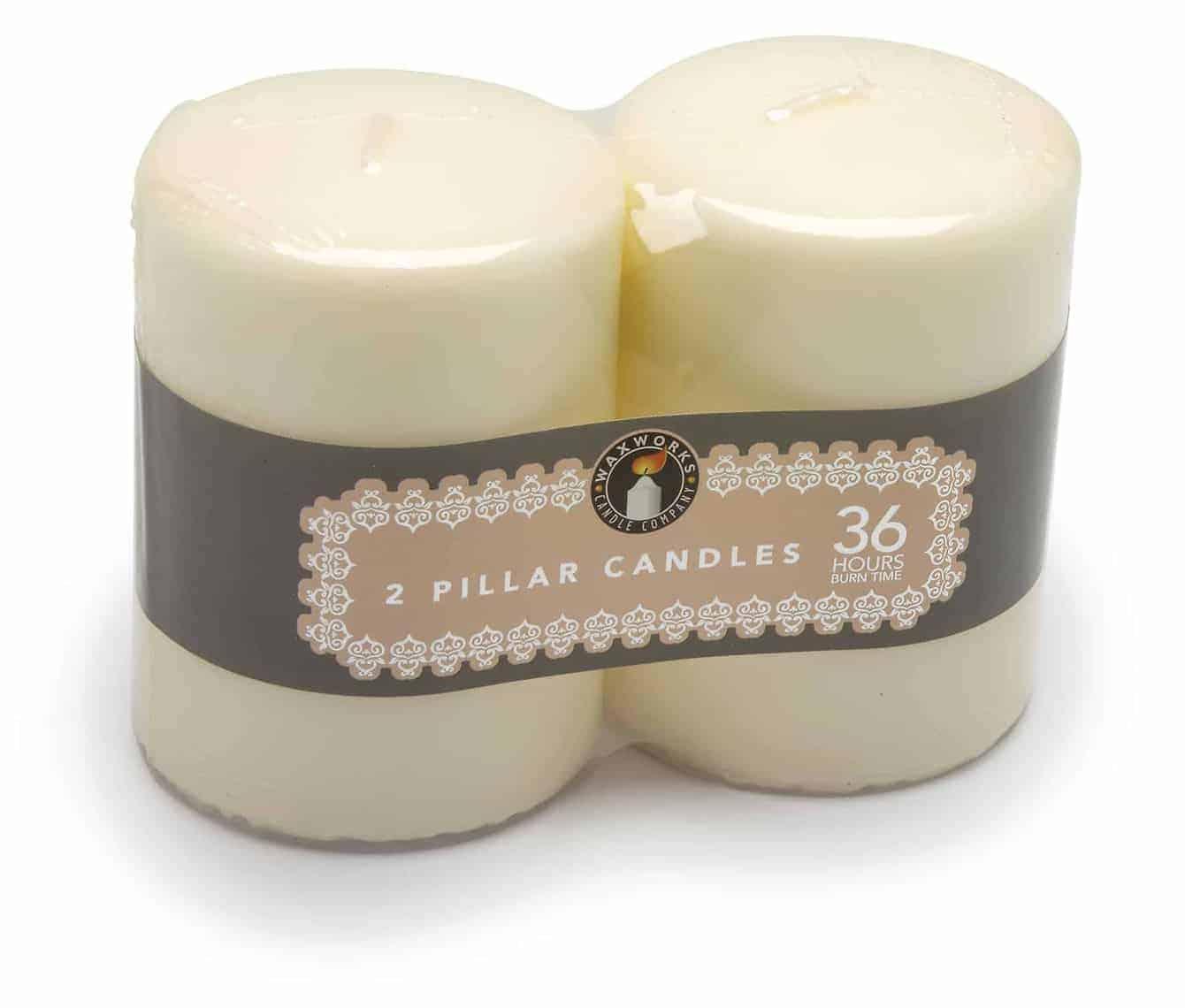Pan Aroma  2Pk Pillar Candles-36Hr