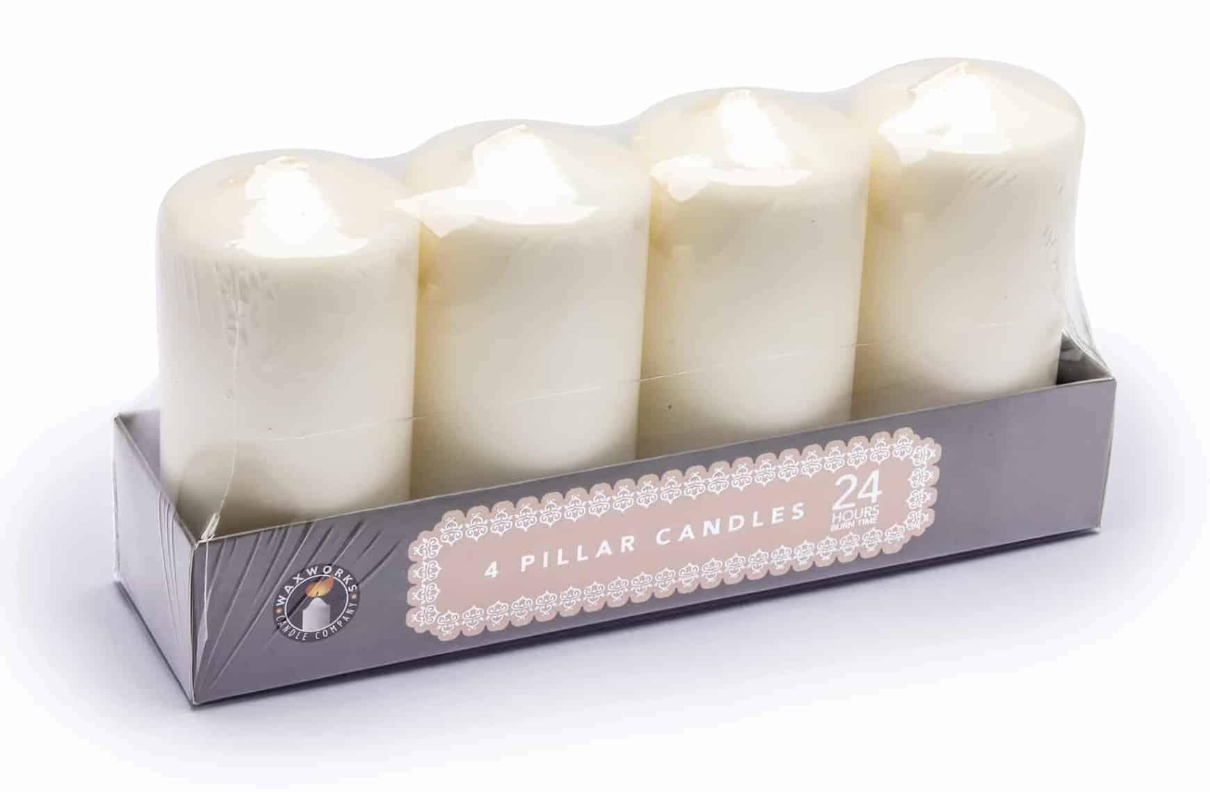 Pan Aroma  4Pk Pillar Candles-24Hr