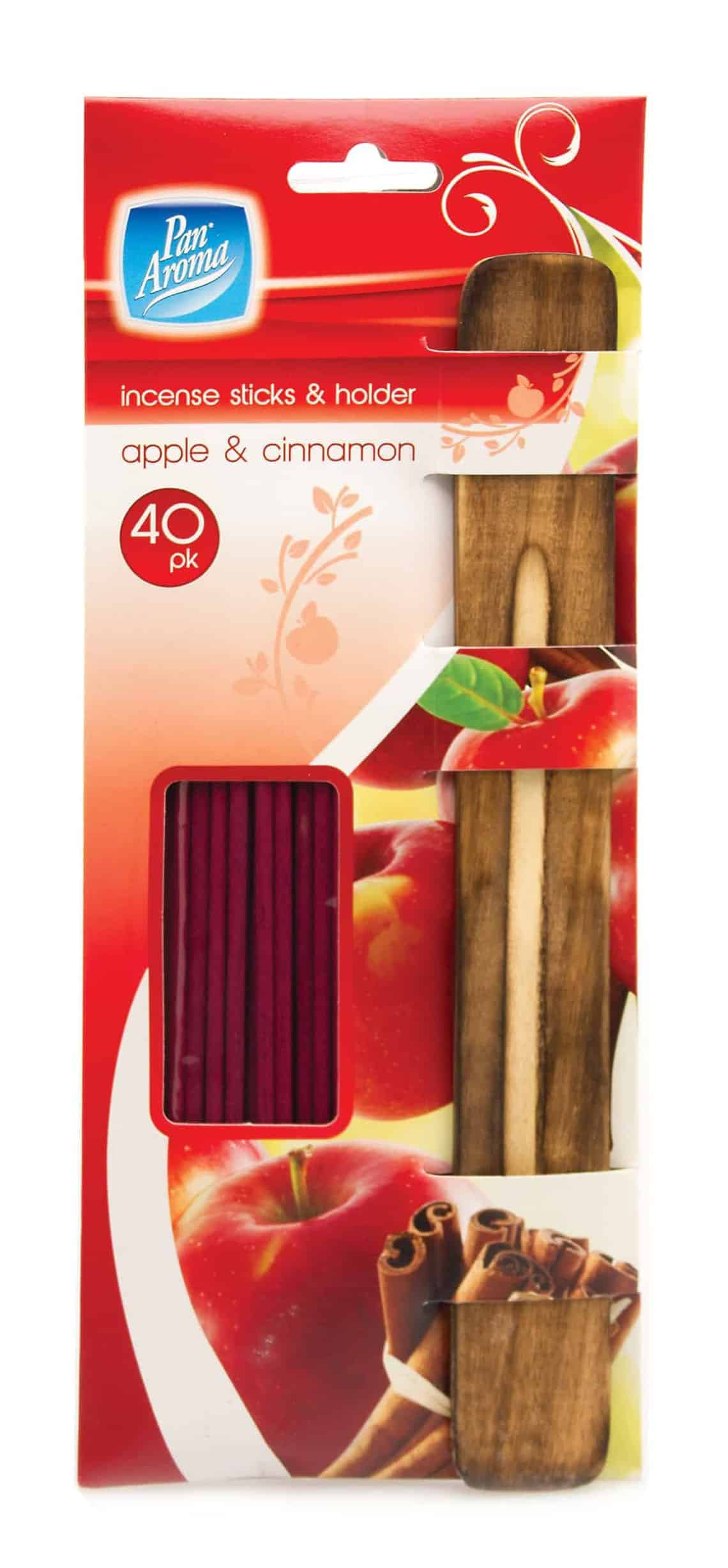 Pan Aroma Apple & Cinnamon Incense Sticks & Holder 40Pk
