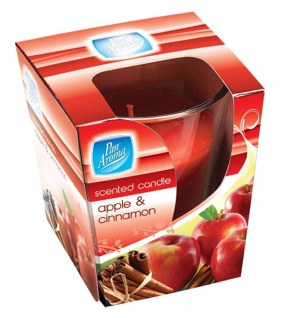 Pan Aroma Apple And Cinnamon Clear Glass Candle
