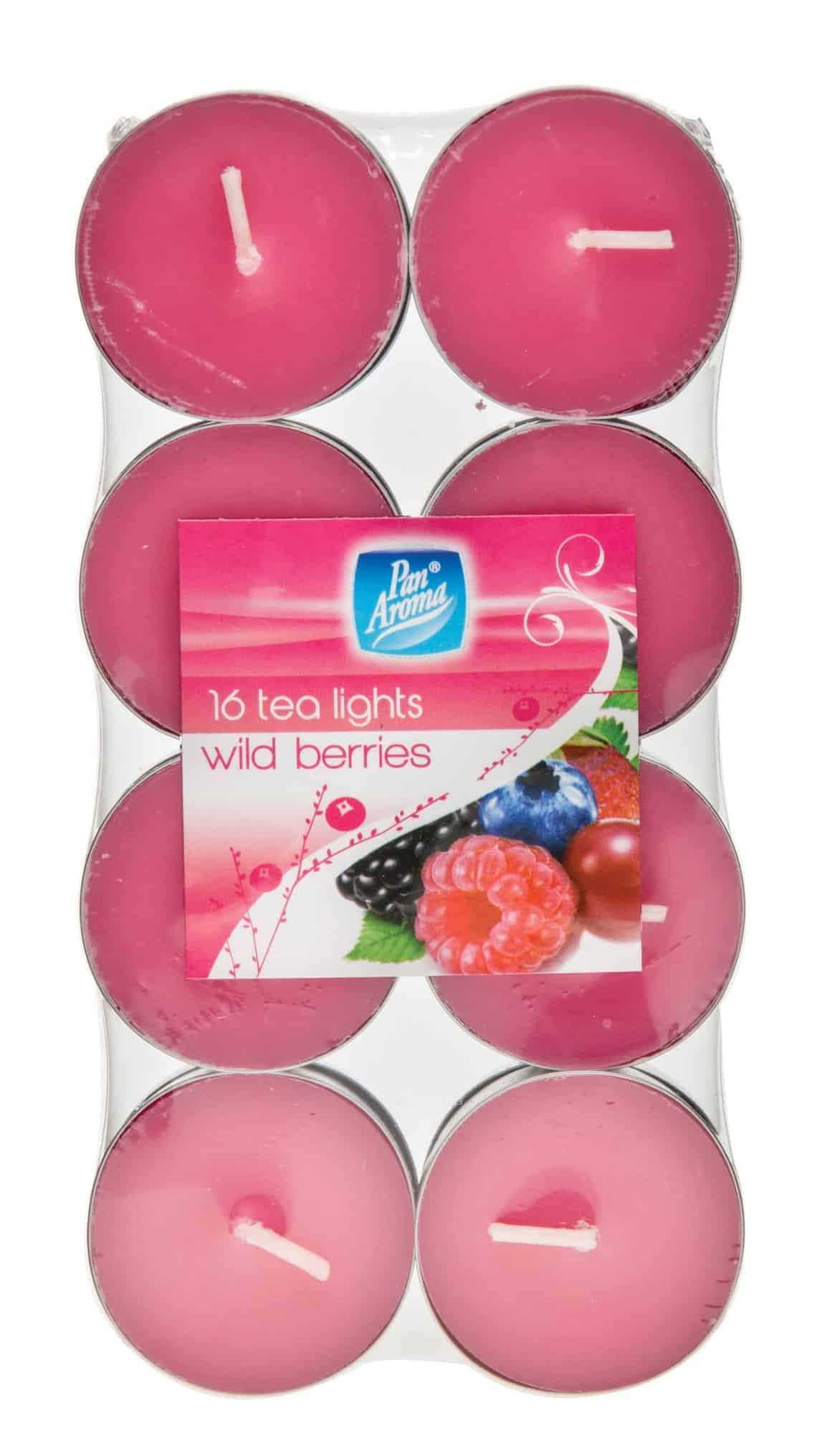 Pan Aroma Wild Berries Colour Tea-Lights 16 Pack