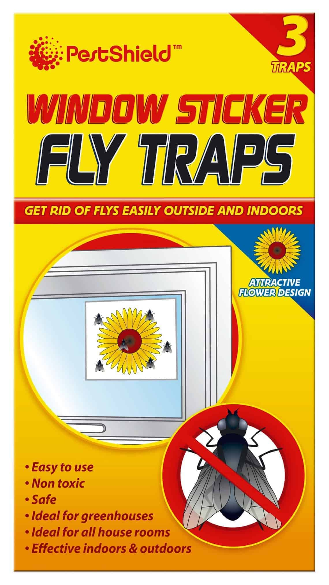 PestShield 3pk Window Sticker Fly Traps