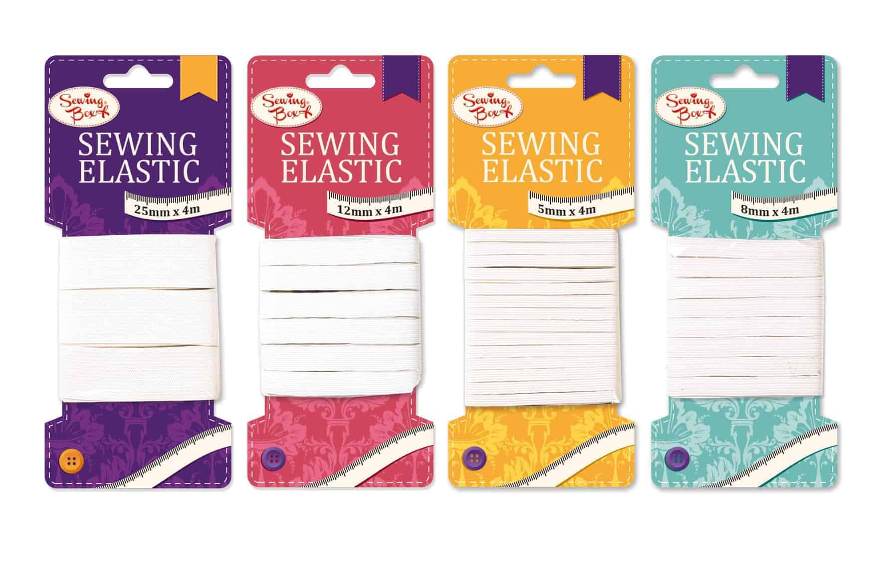 Sewing Box Assorted x 4m Sewing Elastic