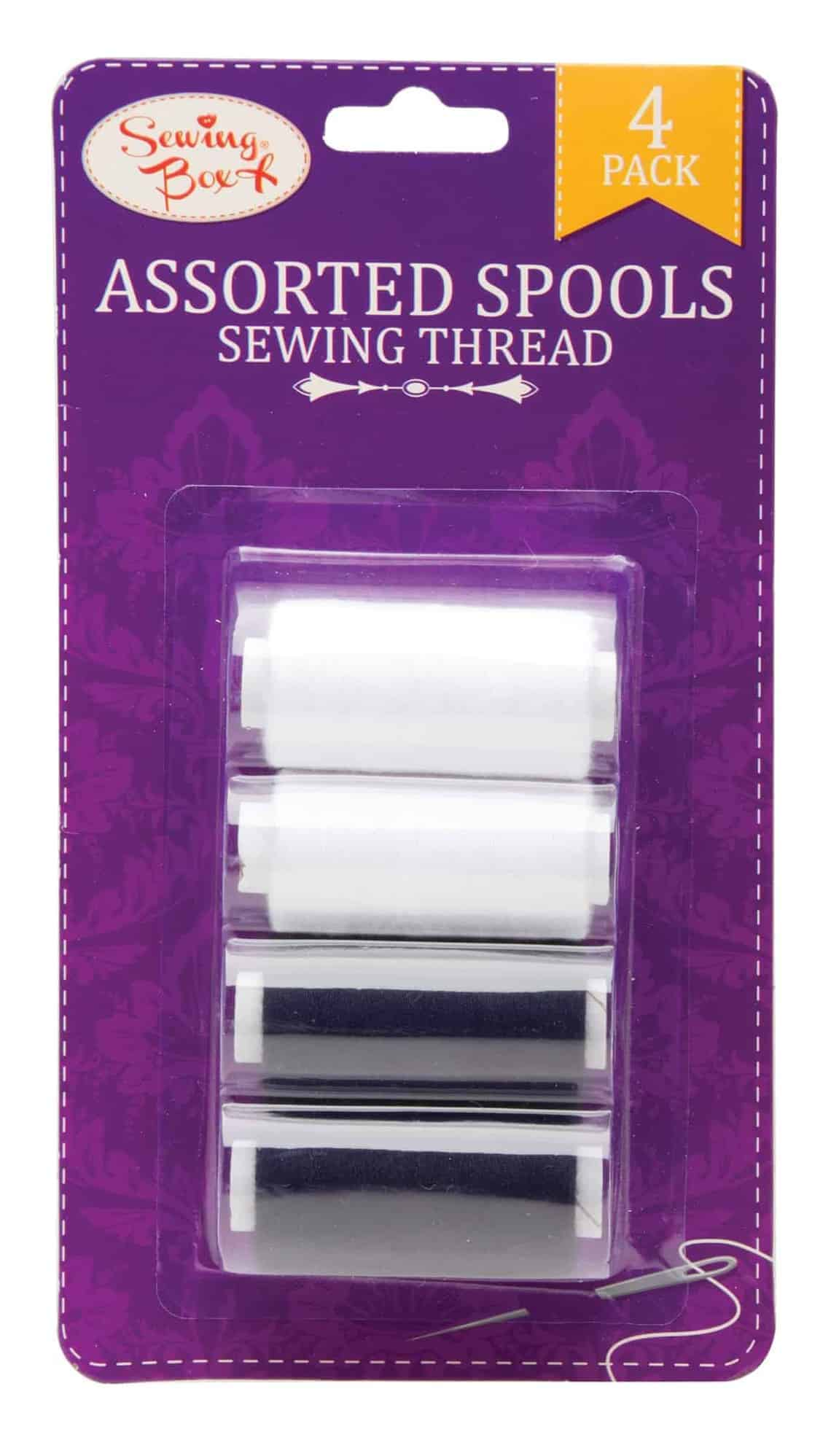 Sewing Box 4pk Black & White Sewing Thread on Spools