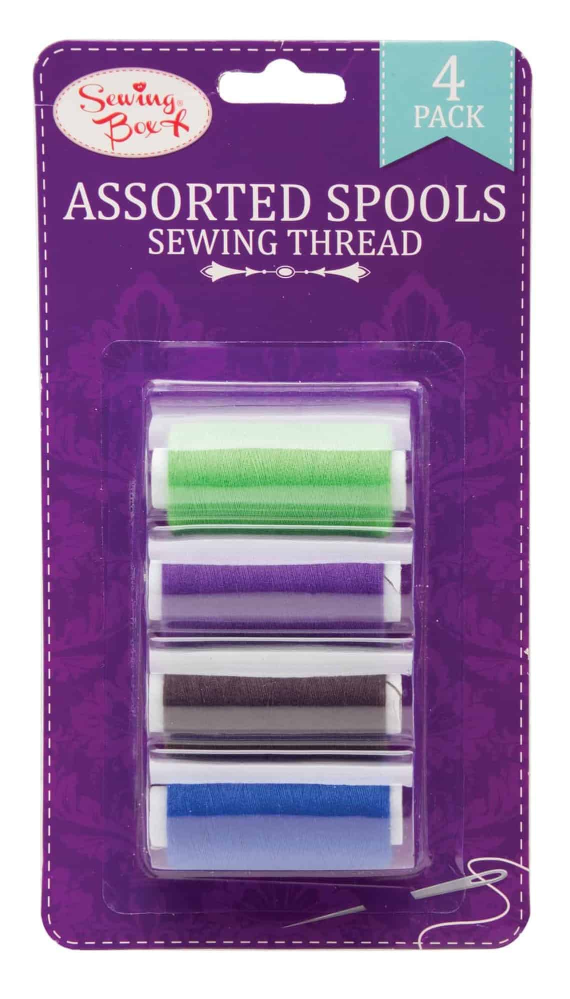 Sewing Box 4pk Assorted Sewing Thread on Spools