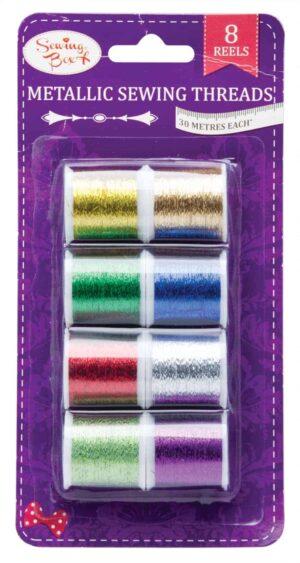 Sewing Box 8Pk Metallic Thread