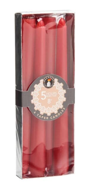 """Pan Aroma Set Of 4 8"""" Taper Candles - Red"""