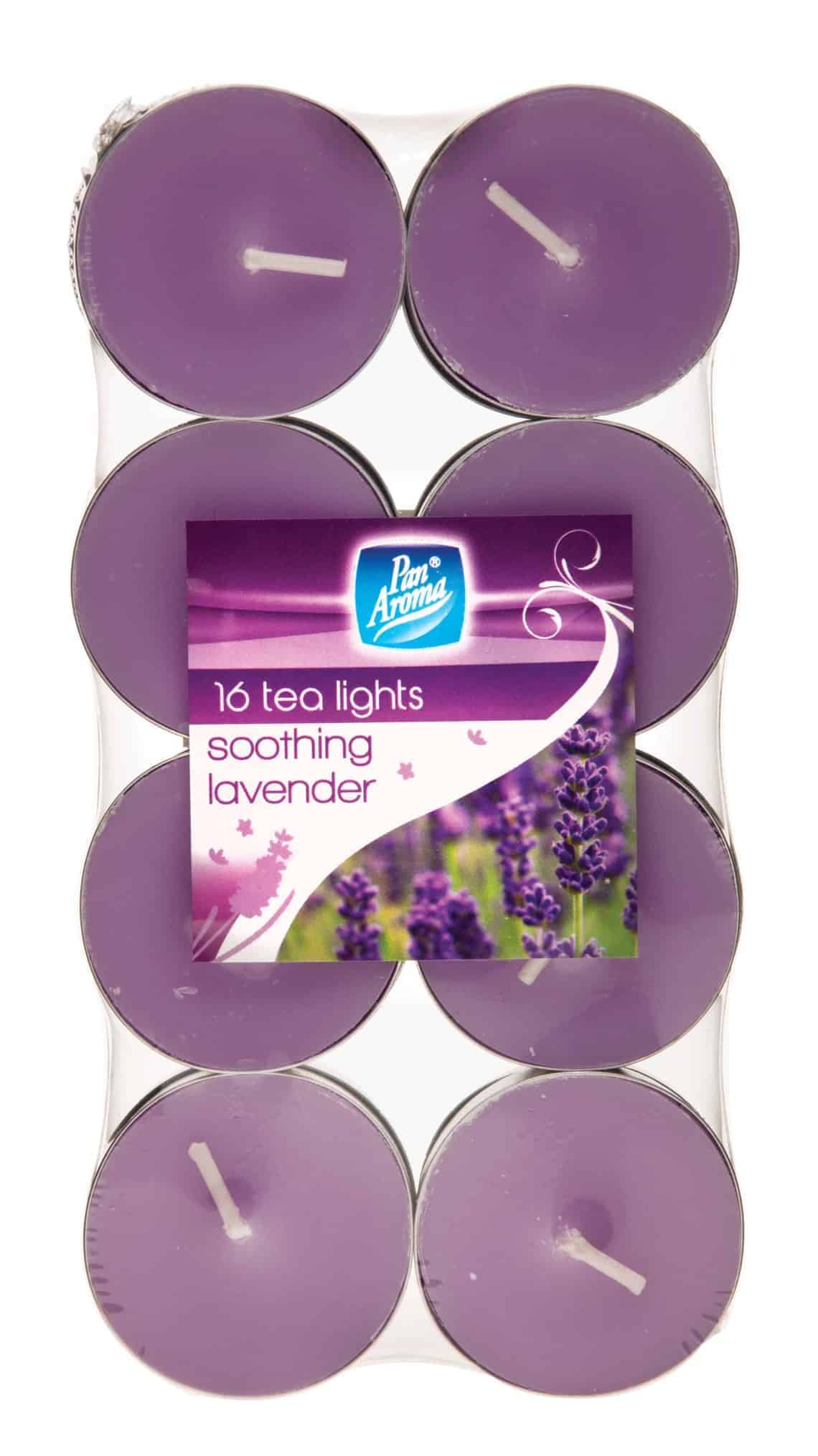Pan Aroma 16 Pack Colour Tea-Lights - Soothing Lavender
