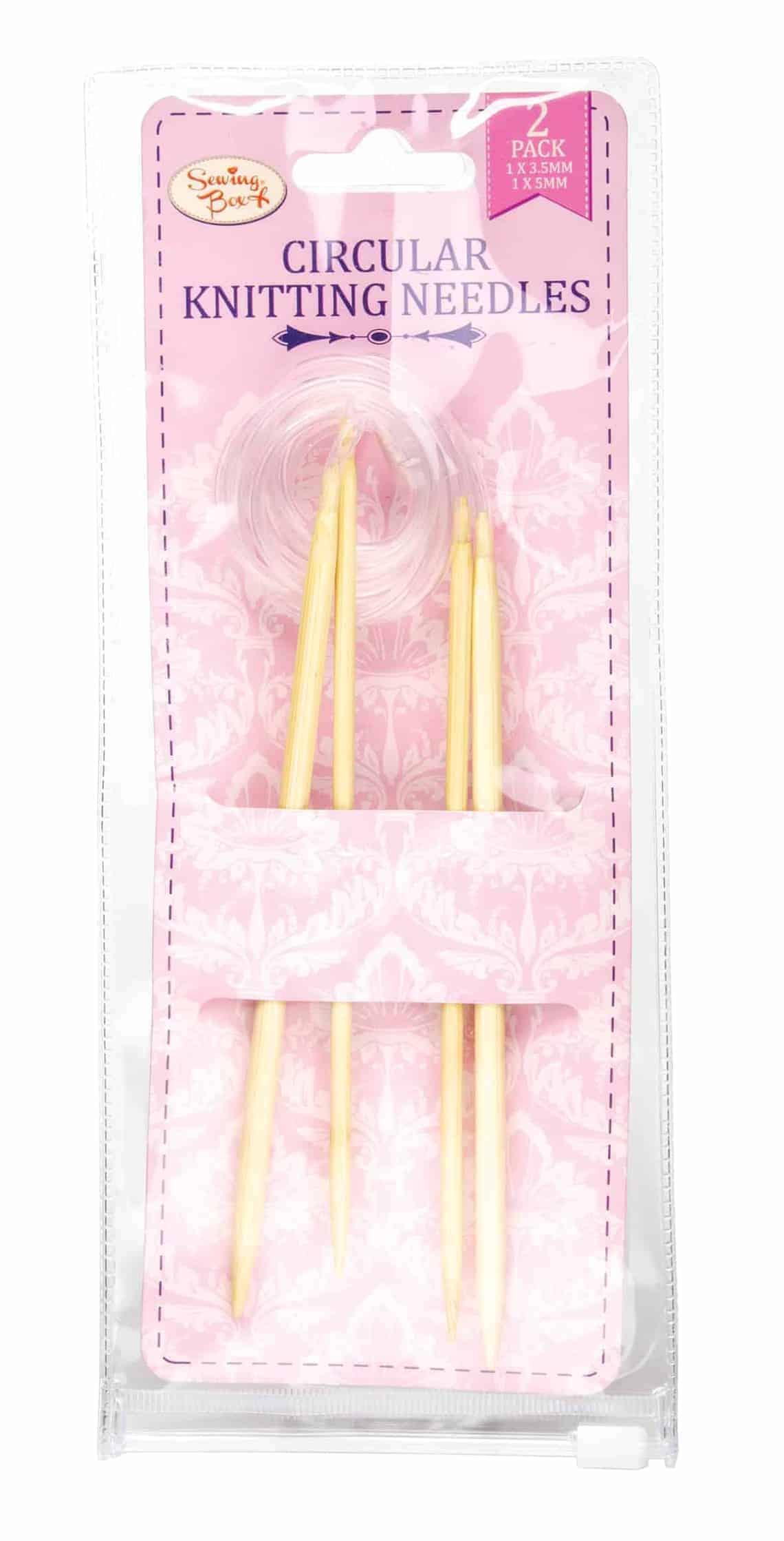 Sewing Box 2 Circular Bamboo Knitting Needles 3.5&5Mm