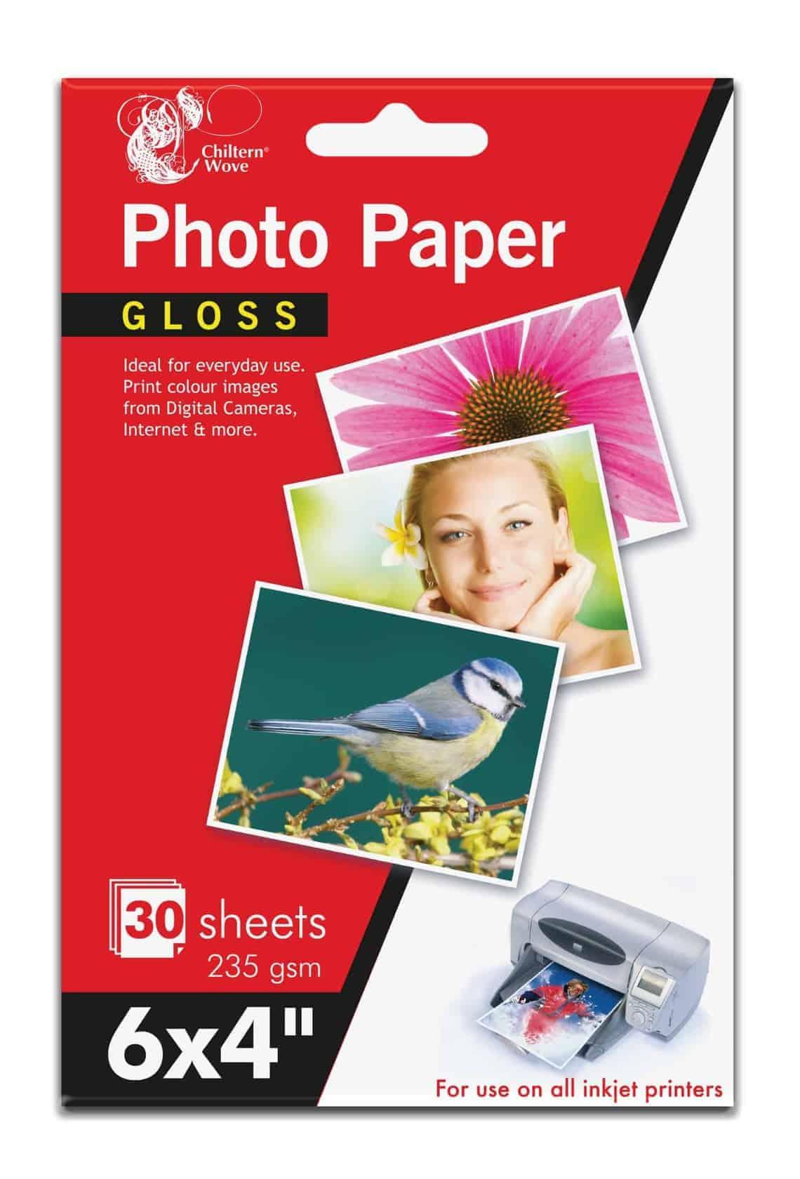 Chiltern Wove Photo Paper-6X4 Gloss 30Sht