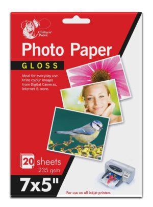 Chiltern Wove 20 Sheet 7x5 Gloss Photo Paper