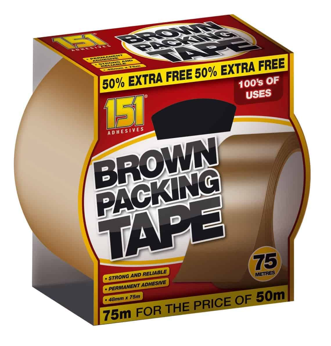 151 Products 75m Brown Packing Tape