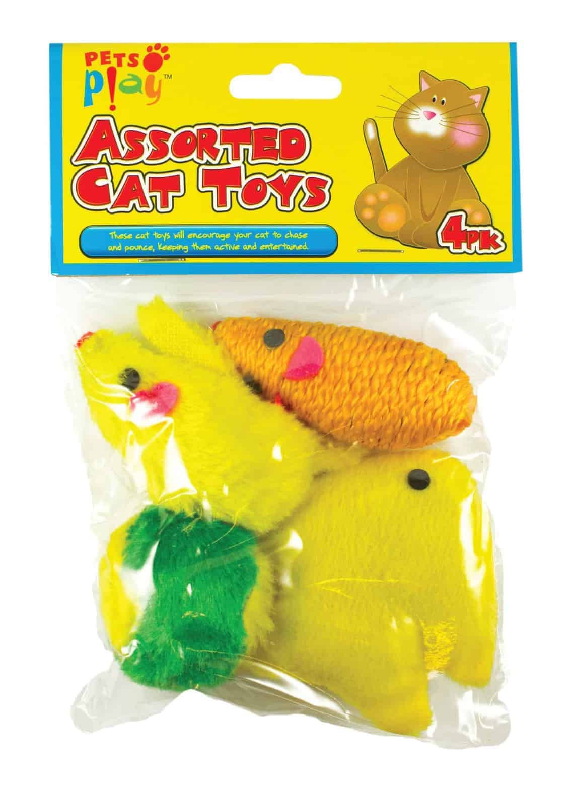 Pets At Play 4pk Assorted Cat Toys