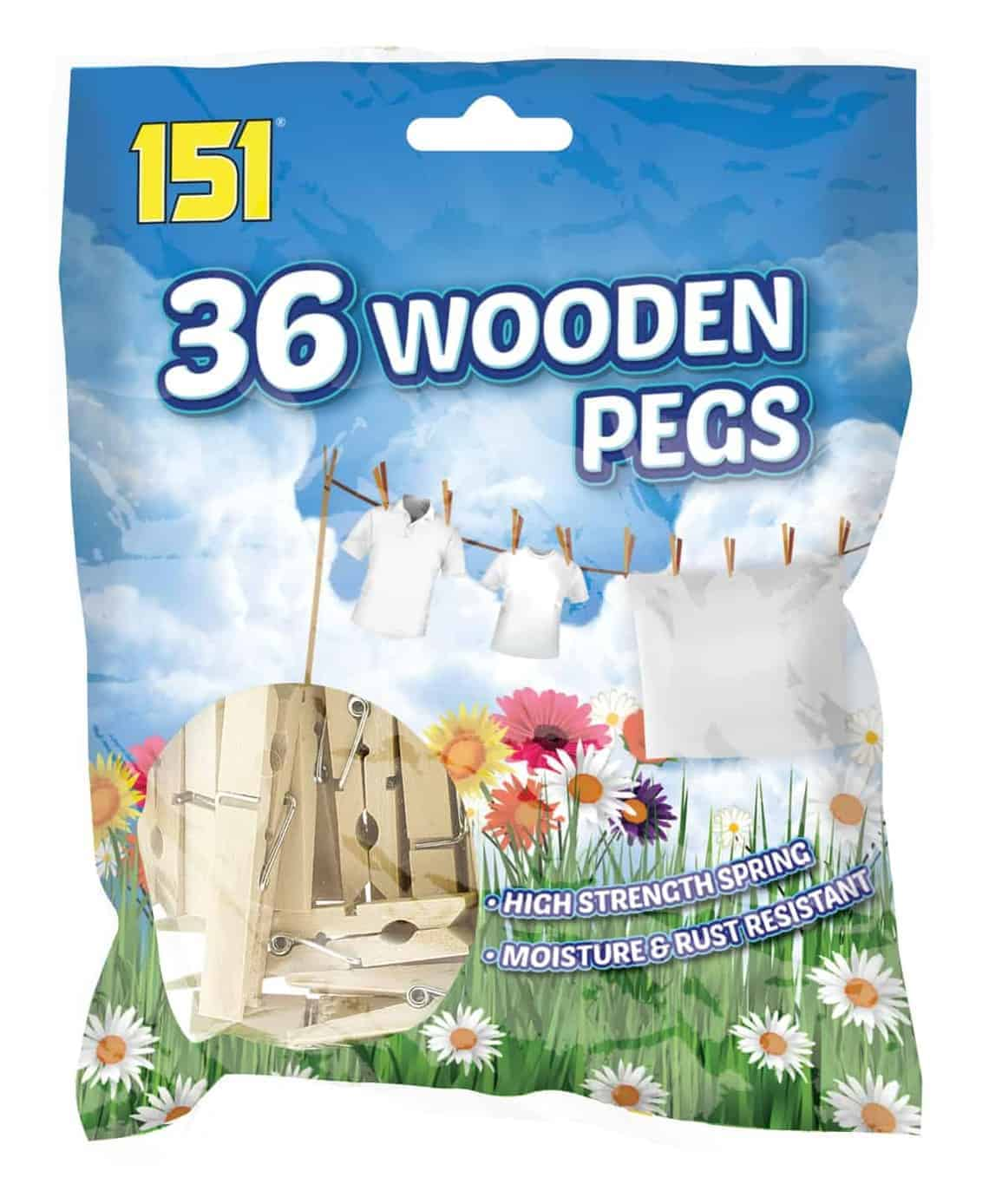 151 Products  36pk Wood Spring Pegs