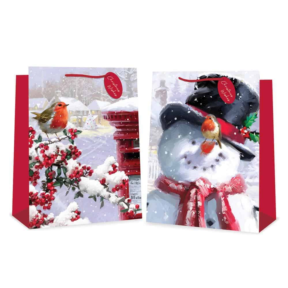 X-L Traditional Snowman & Robin Gift Bag