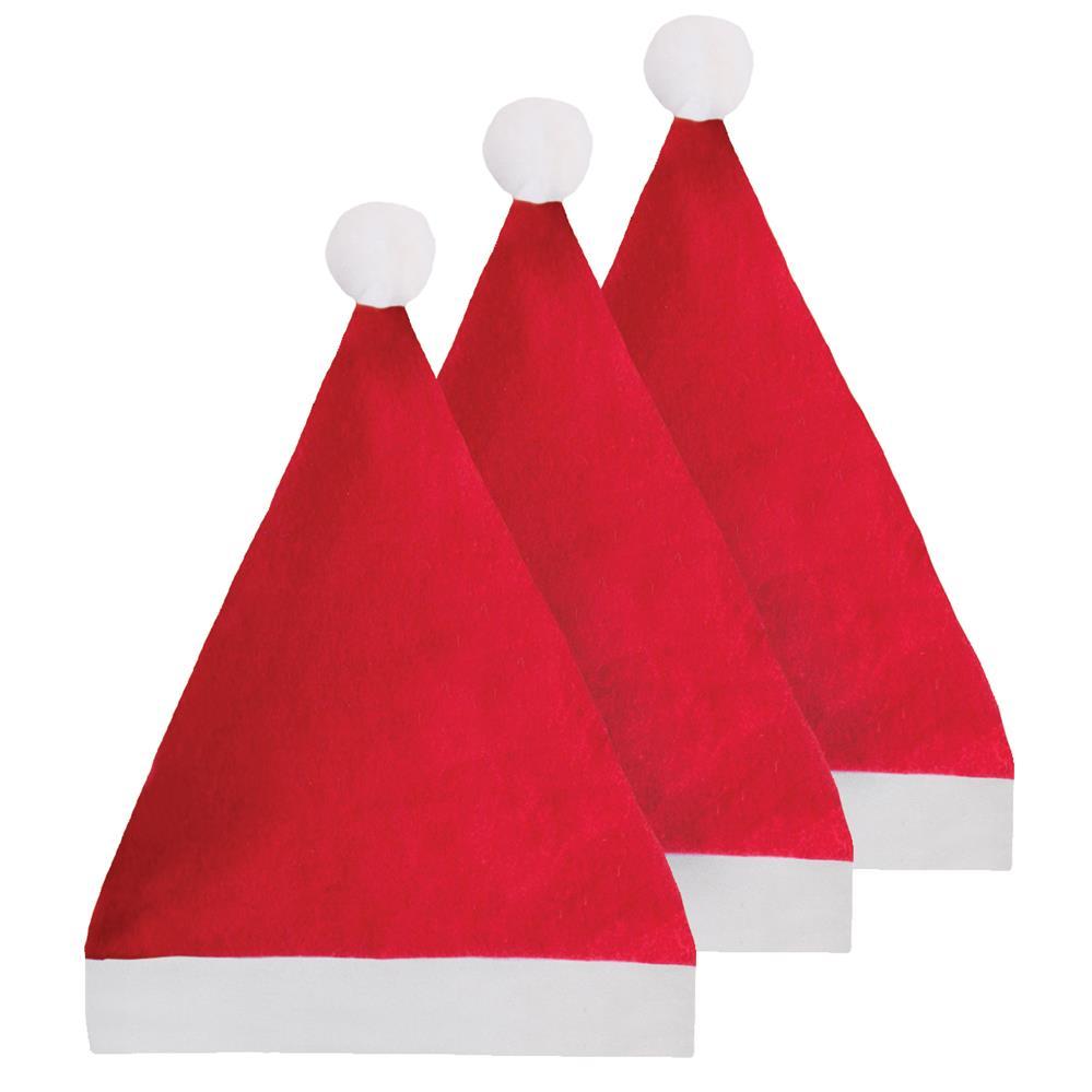 3Pk Felt Santa Hat
