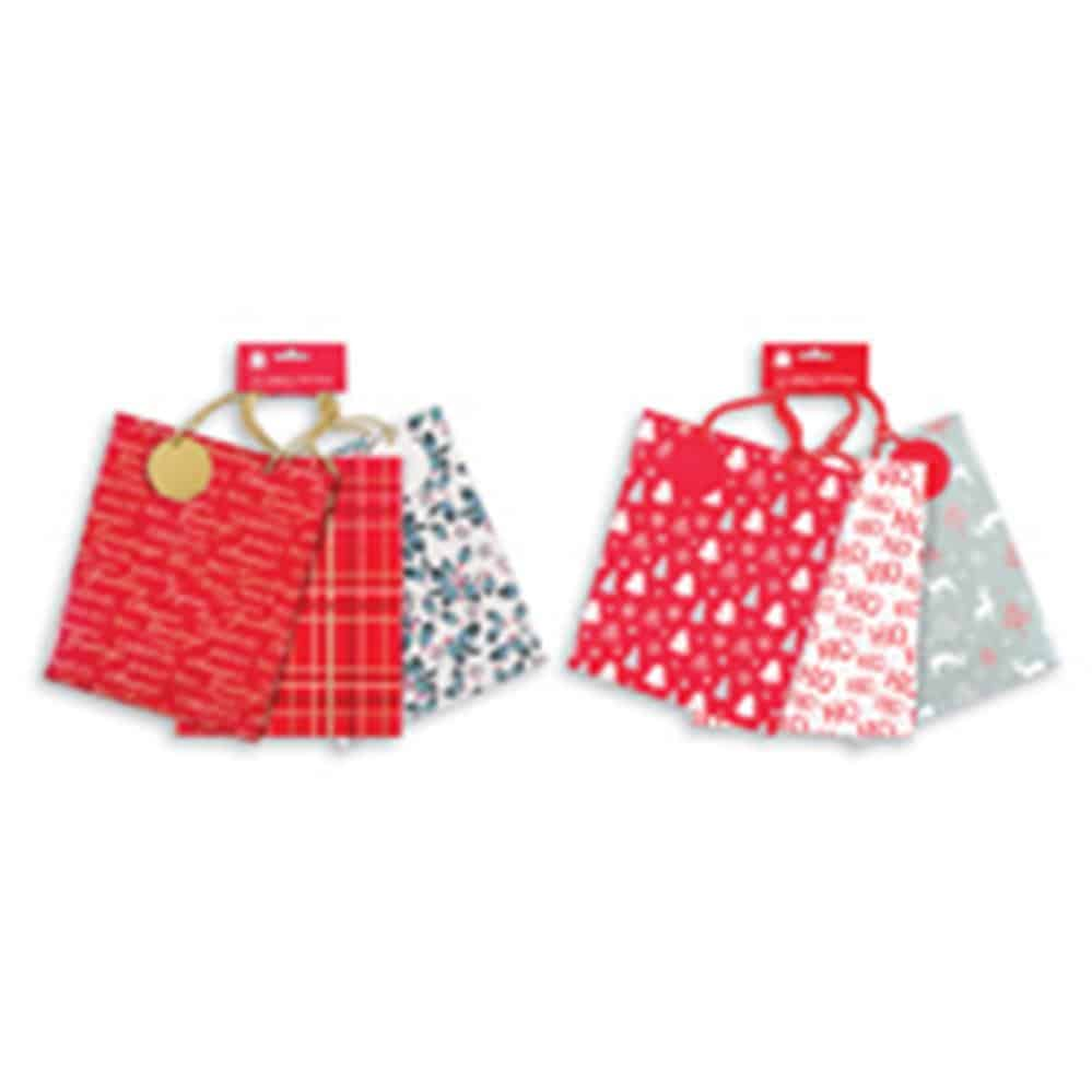 3Pk Medium Traditional Xmas Bag
