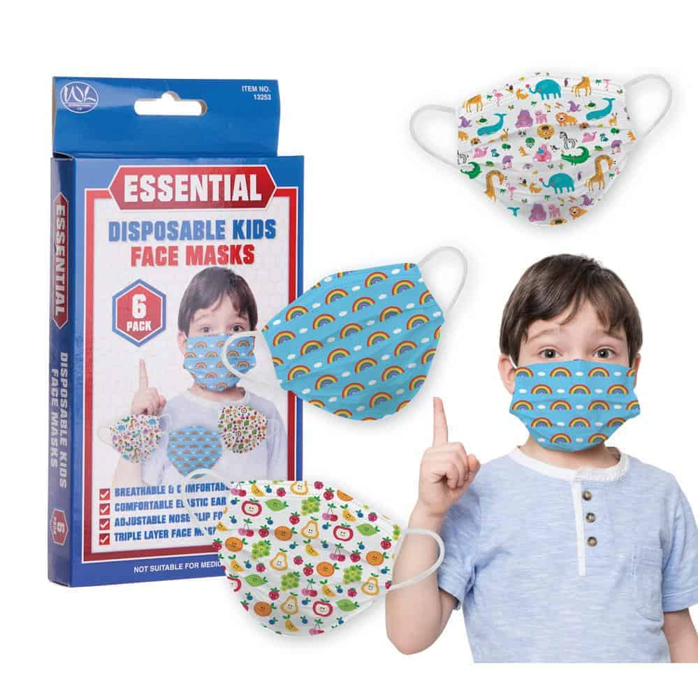 6Pk 3Ply Kids Pattern Facemasks